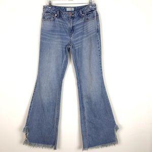 Free People Vintage Flare Split Raw Hem Jeans 28